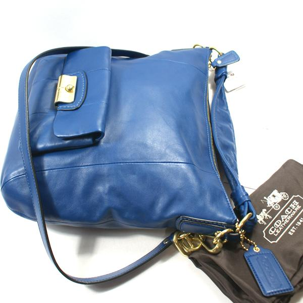 Home Coach Kristin Leather Hobo Bag Crossbody Bag Blue