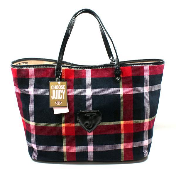 juicy couture plaid multi tote bag yhru2190 juicy. Black Bedroom Furniture Sets. Home Design Ideas