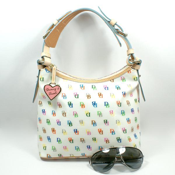 Dooney u0026 Bourke White Multi Signature Lucy W/O Pocket Hobo Bag #NT633 ...