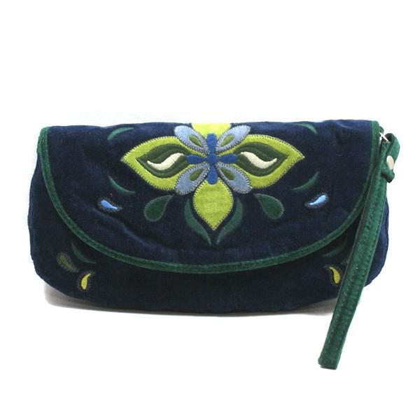 Lucky Brand Embroidered Lotus Flower Flap Wristlet Clutch
