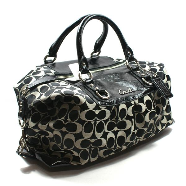 70fe205a25b5 Home · Coach · Ashley Signature Sateen Large Black White Satchel  Shoulder  Bag. CLICK THUMBNAIL TO ZOOM. Found ...