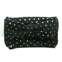 Black Bow Suede Flair Polka dots Large Clutch