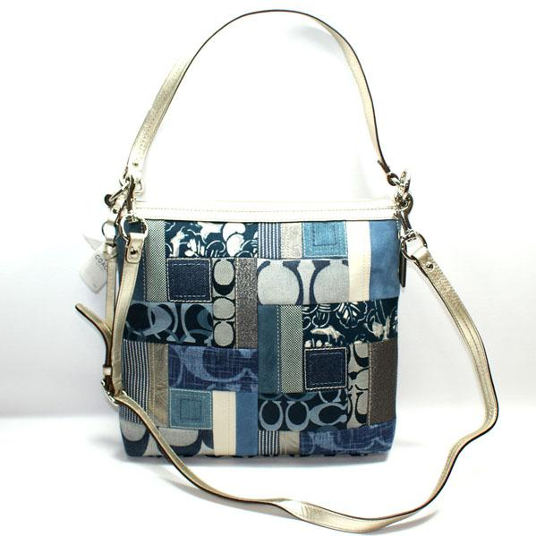 Home Coach Signature Patchwork Convertible Shoulder Bag Denim