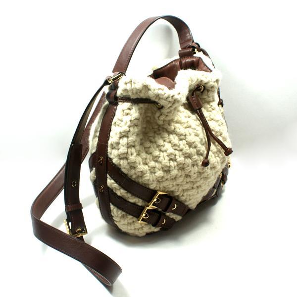 94d509312a23 Michael Kors Milo Drawstring Wool Blend Knit Small Swing Bag ...