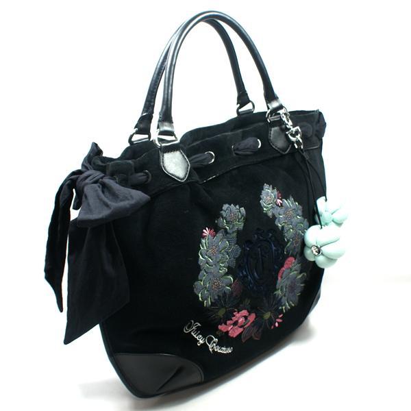 Juicy Couture Beverly Large Black Velvet Shouder Bag