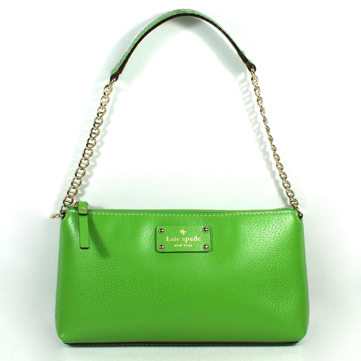 Kate Spade Byrd Wellesley Green Vine Leather Small Shoulder Bag # ...
