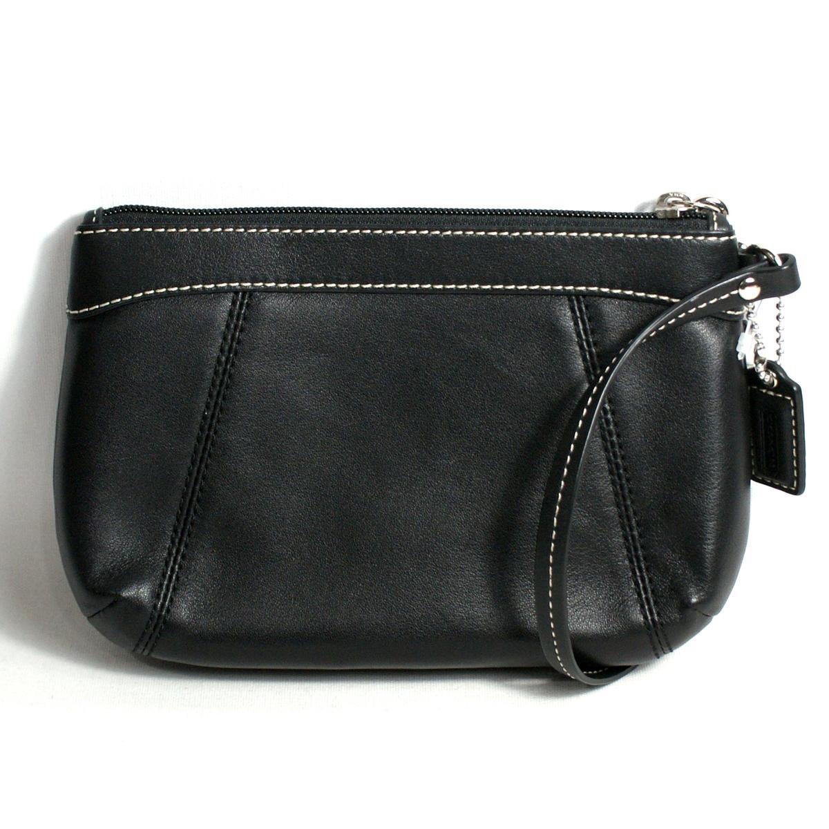 Coach Black Leather Pleated Medium Wristlet #46484   Coach 46484
