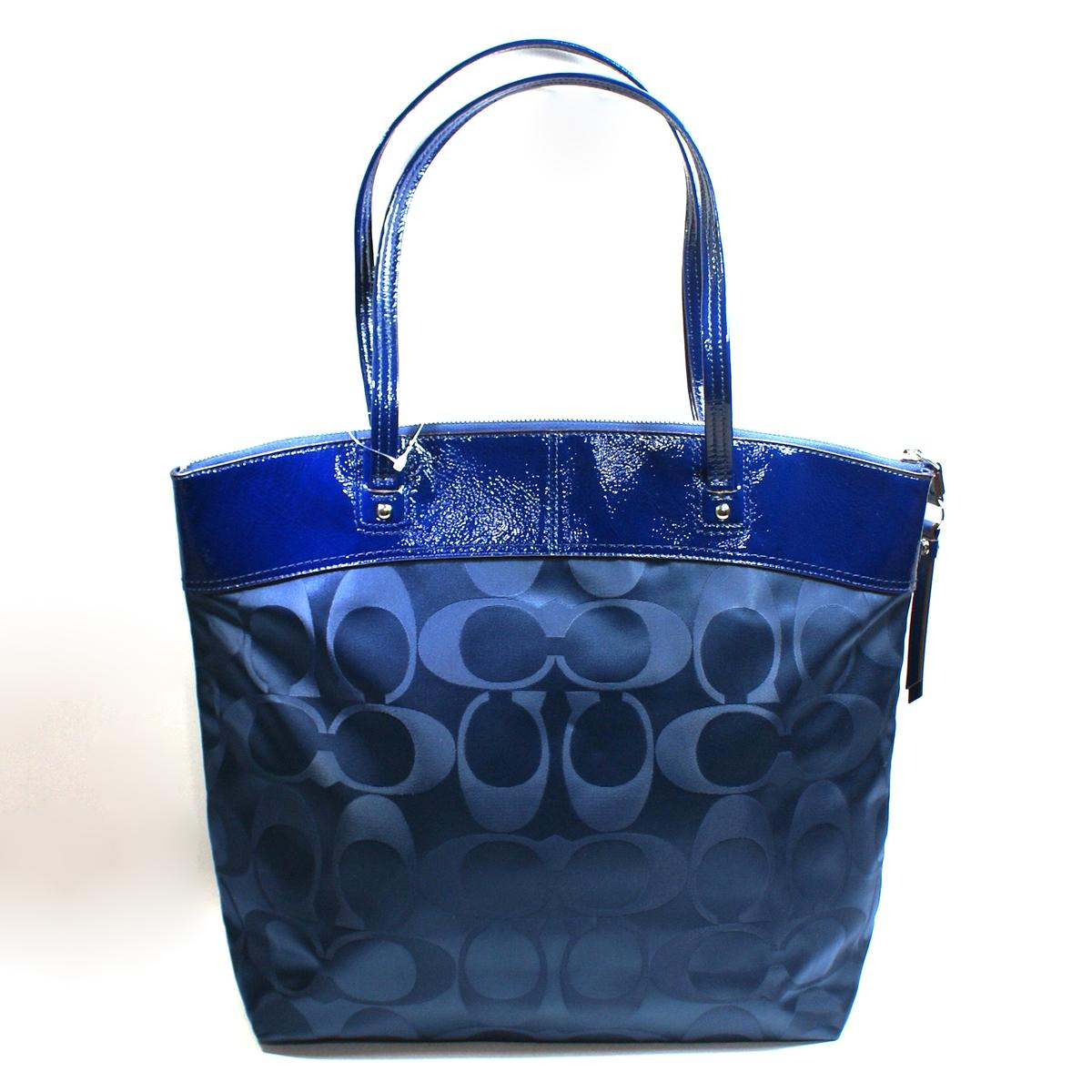 Home Coach Laura Signature Navy Blue Nylon Tote Shoulder Bag
