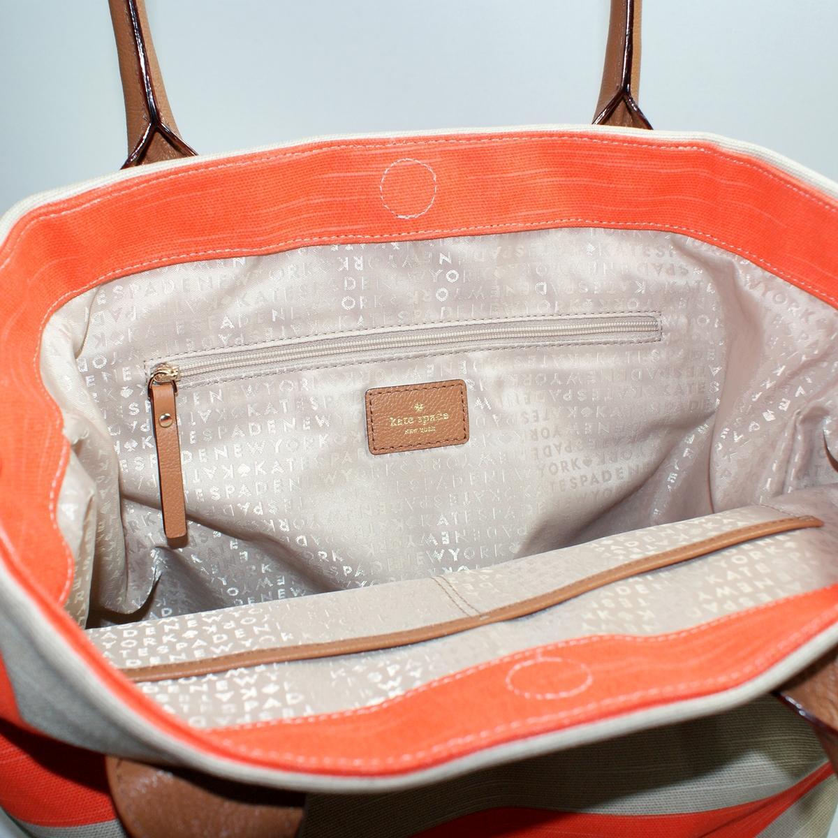 Kate Spade Jubilee Stripe Bon Shopper Coral Shoulder Bag