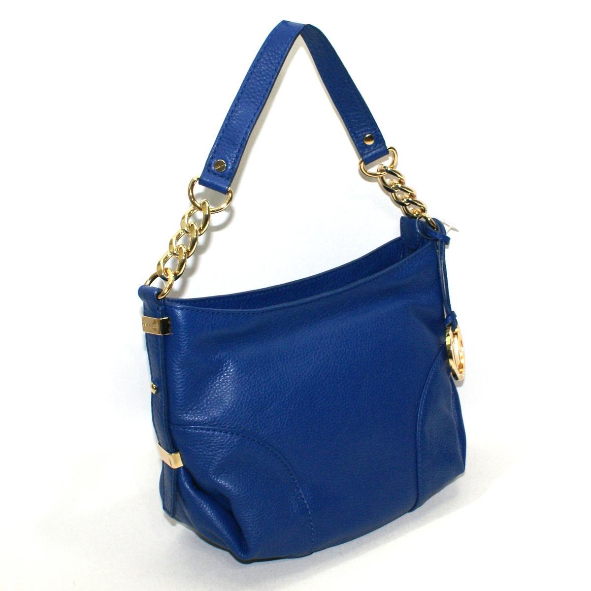 ... Michael Kors Jet Set Chain Genuine Leather Small Shoulder Bag Cobalt
