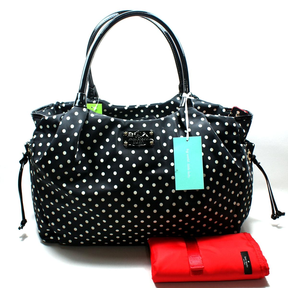 Kate Spade Stevie Baby Bag Spot Nylon Black Diaper Bag #WKRU1613