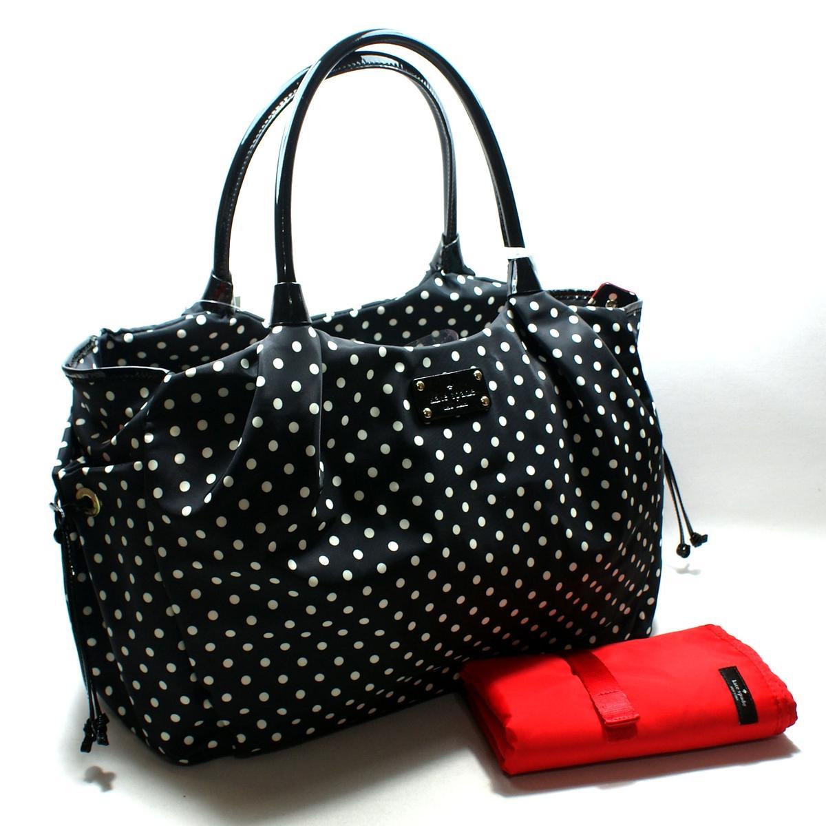 kate spade stevie baby bag spot nylon black diaper bag. Black Bedroom Furniture Sets. Home Design Ideas