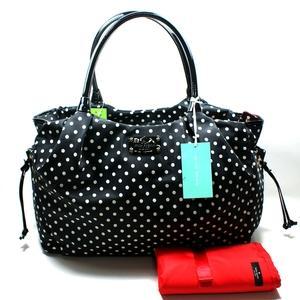 Kate Spade Stevie Baby Bag Spot Nylon Black Diaper Wkru1613