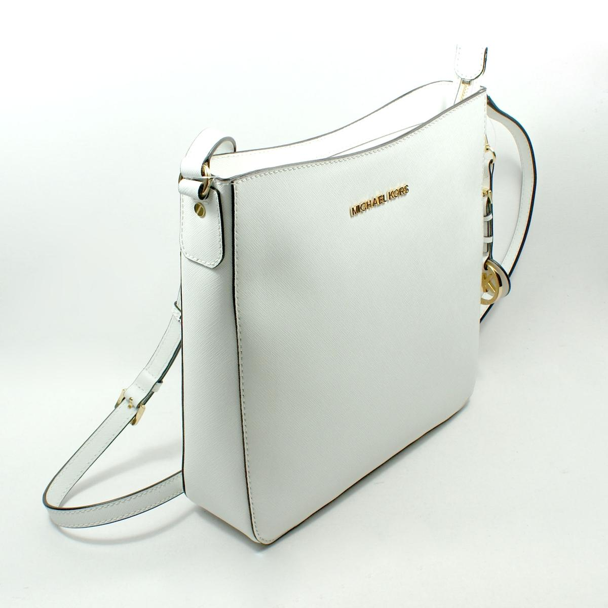 Home Michael Kors Jet Set Travel White Leather Messenger/ Crossbody ...