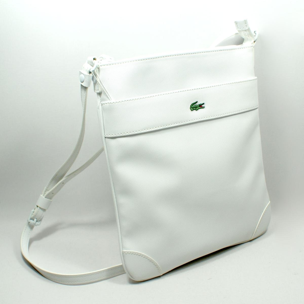 Lacoste Bright White Vertical Flat Crossover Bag/ Crossbody Bag # ...