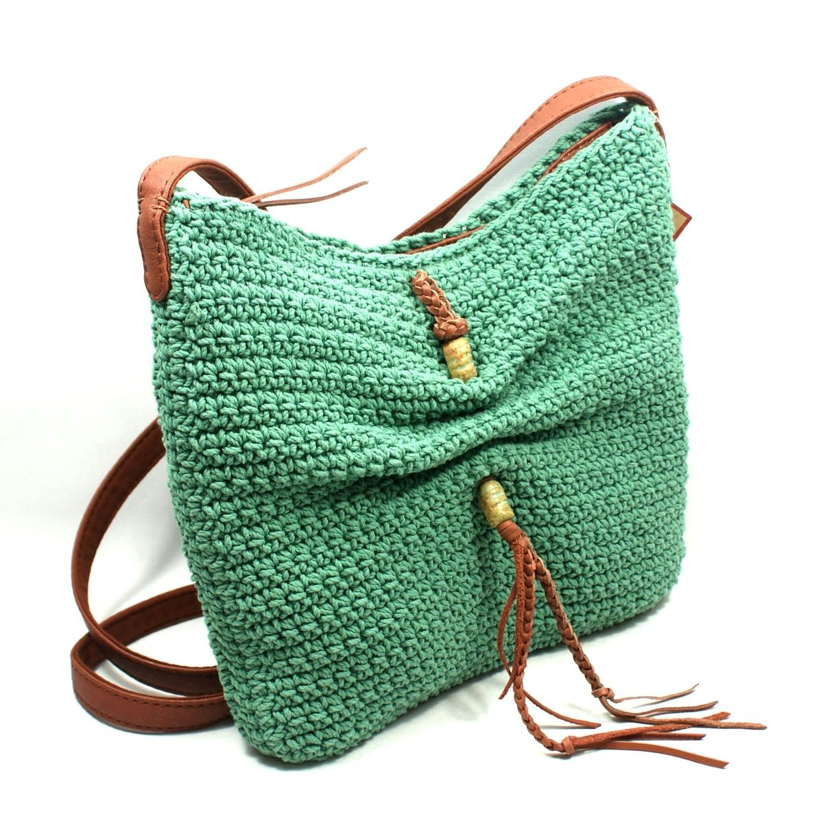Crochet Crossbody Purse : Lucky Brand Ojai Crochet Green Swing/ Crossbody Bag #HKRU1384 Lucky ...