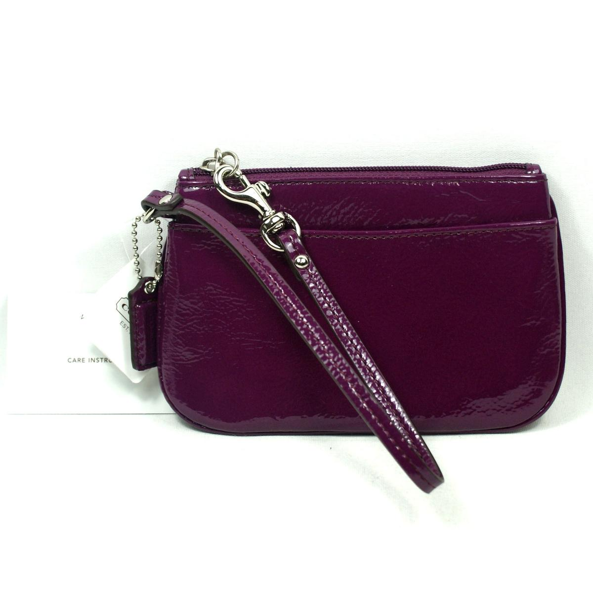 Coach Patent Leather Small Wristlet Plum #47782 : Coach 47782