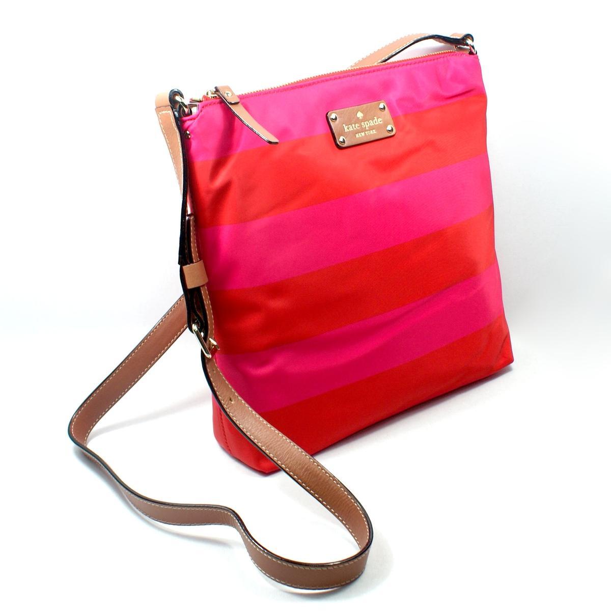 cc23862cf46f0 Kate Spade Victoria Cambridge Stripe Nylon Red  Pink Cross .