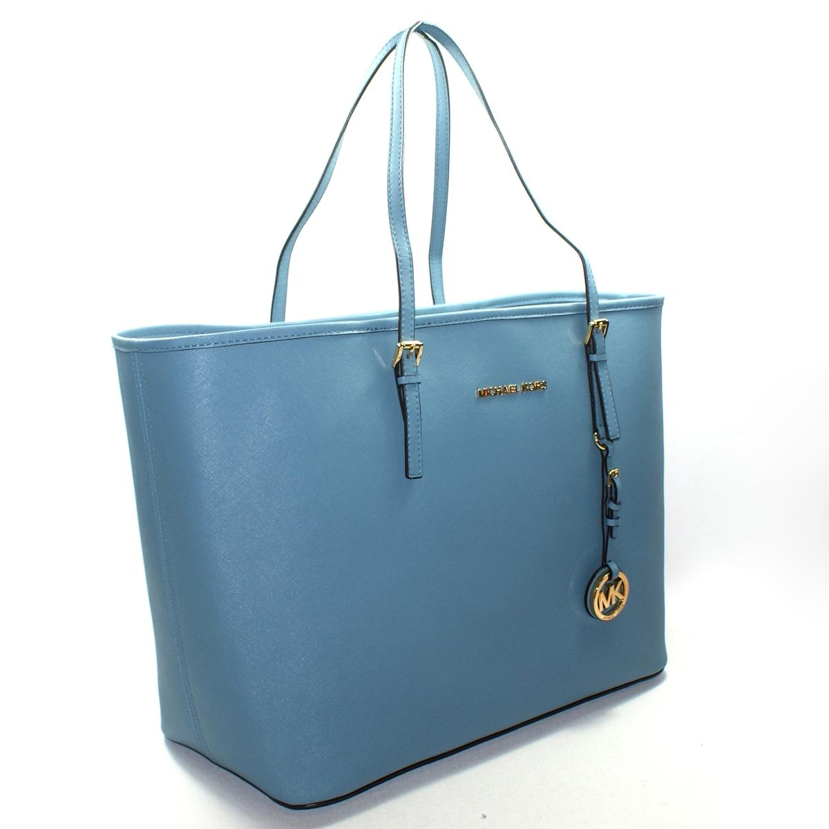 michael kors blue leather medium travel tote bag 30h1gtvt2l michael. Black Bedroom Furniture Sets. Home Design Ideas