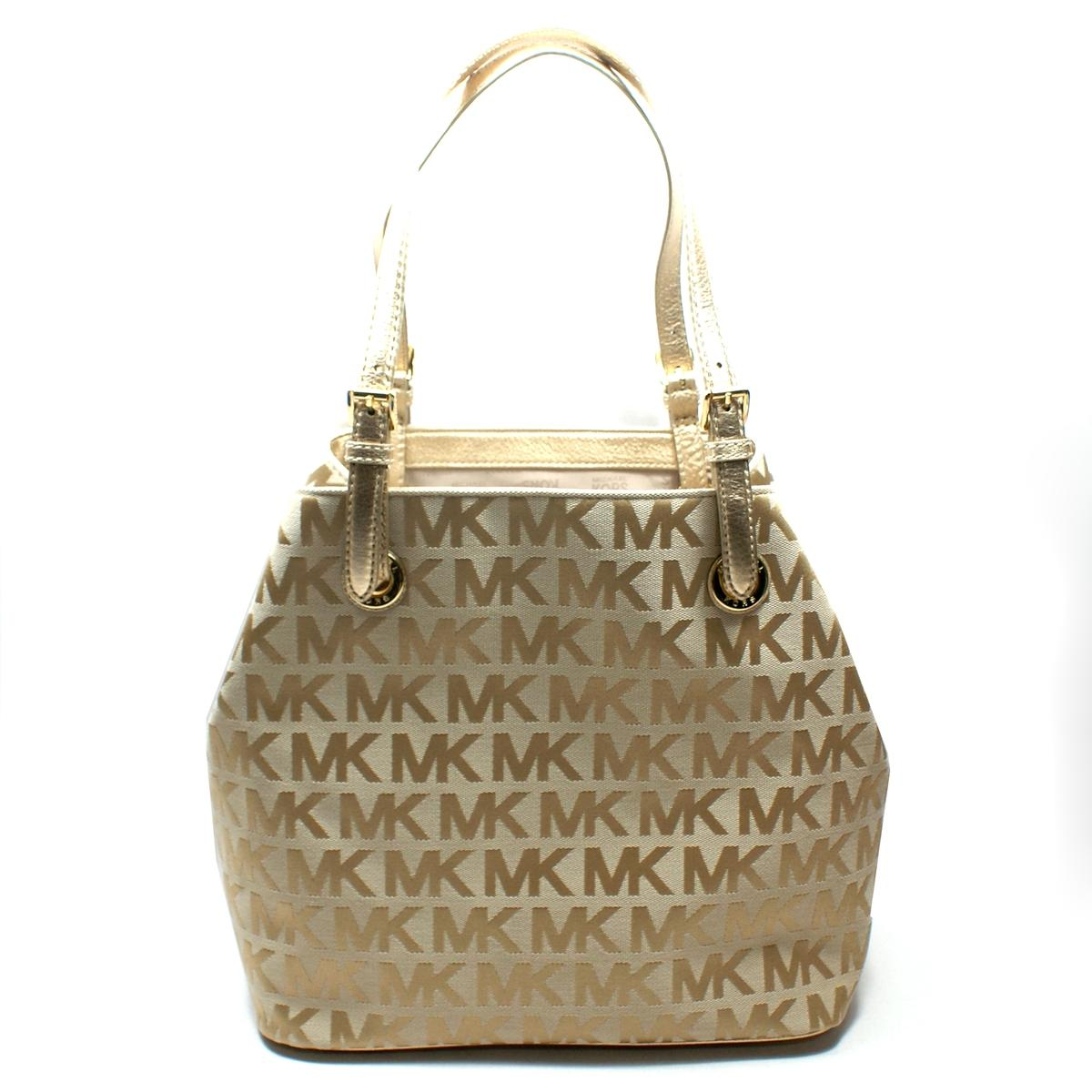 Michael Kors Jet Set Signature Jacquard Grab Tote Bag Gold