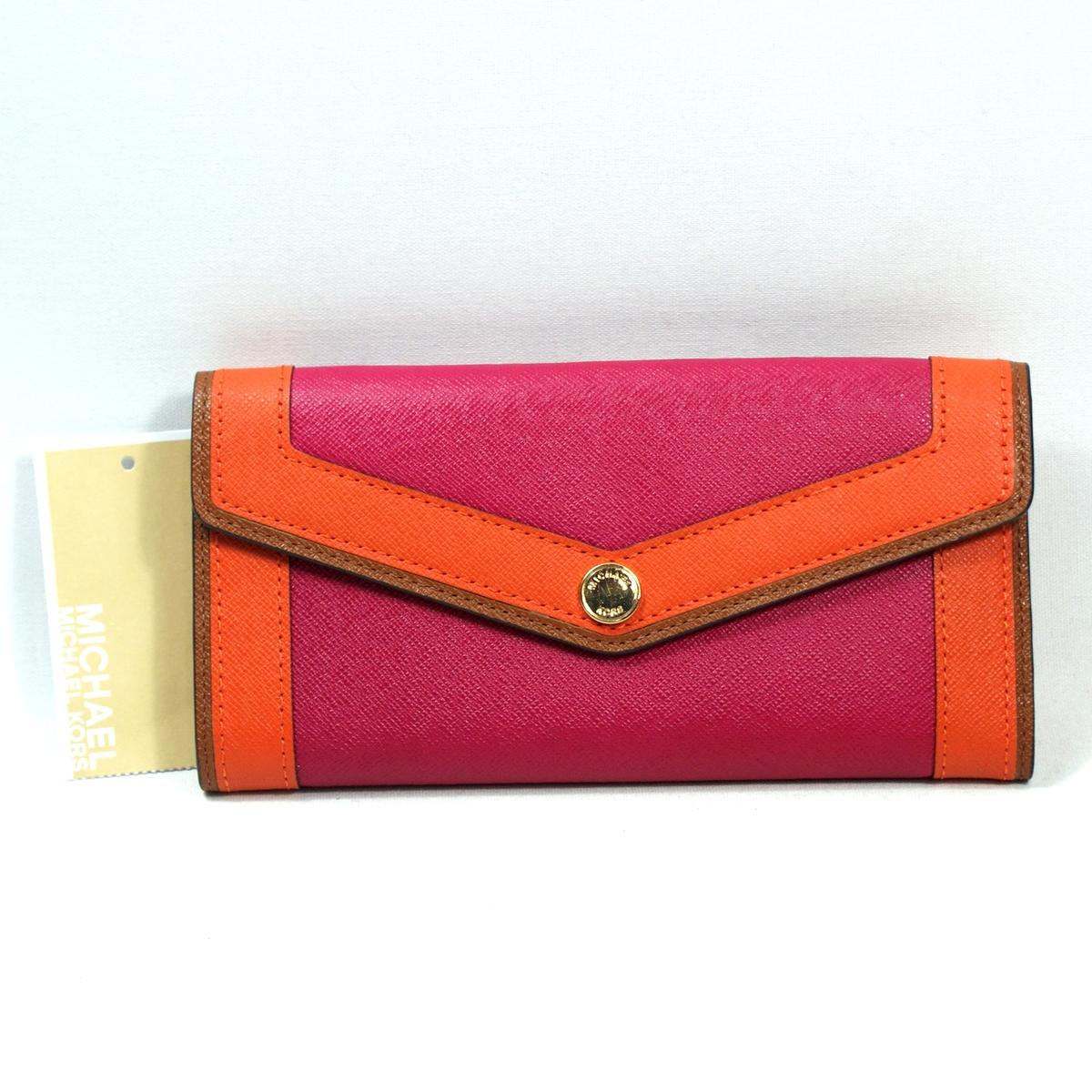 Michael Kors Saffiano Overlay Genuine Leather Pink Leather