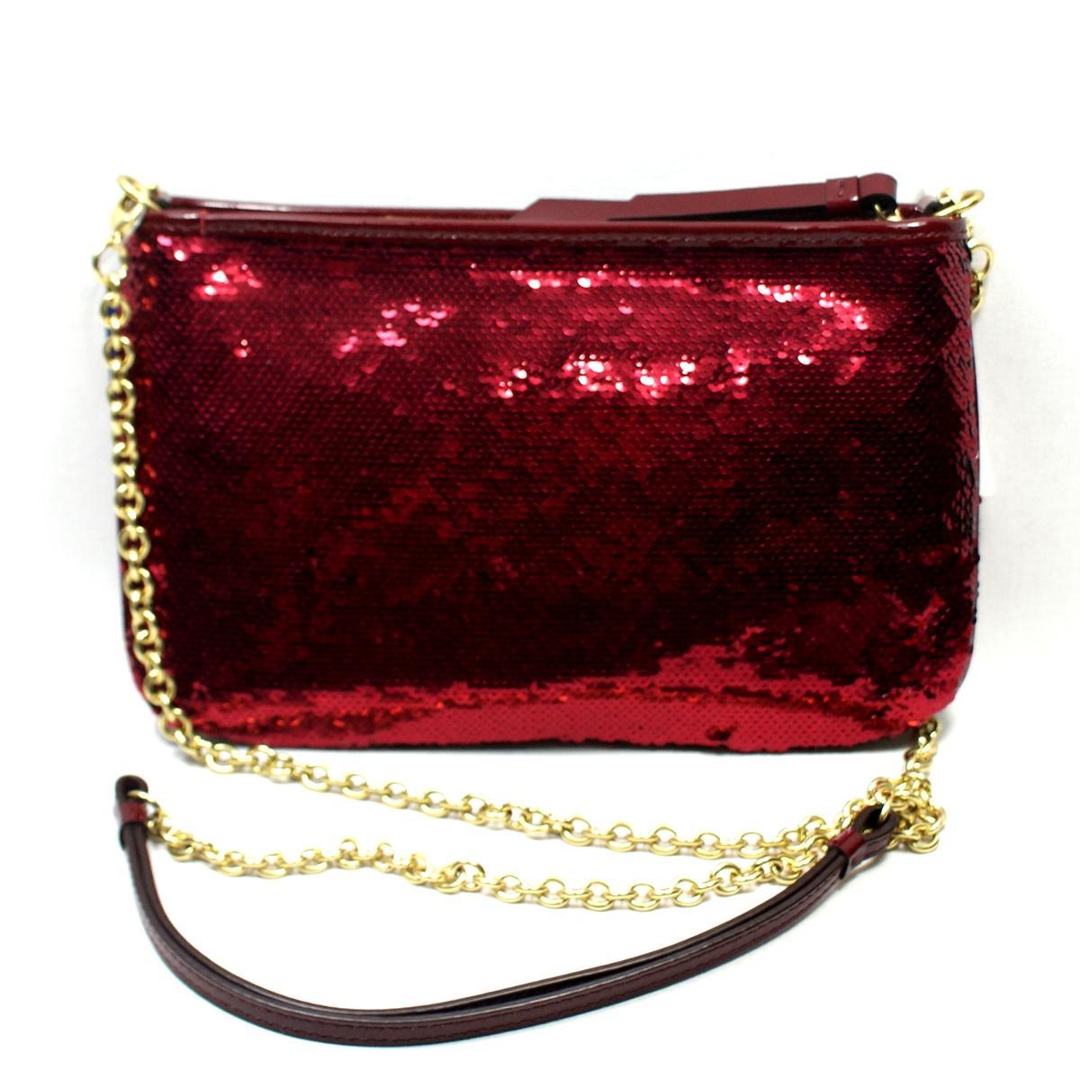 Coach Poppy Sequin Crimson Cross Body Bag 48422 Coach 48422