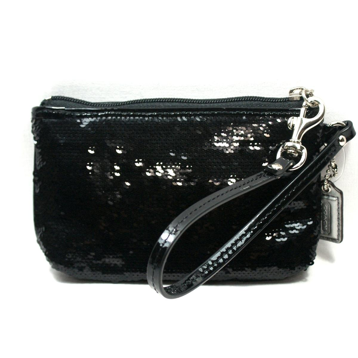 Coach Poppy Sequin Small Wristlet Black #48429   Coach 48429