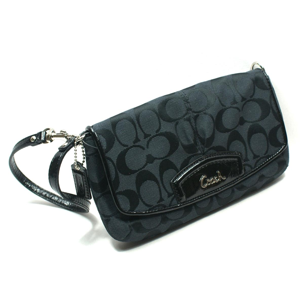 Coach Signature Large Flap Wristlet Clutch Black 48127 Coach 48127
