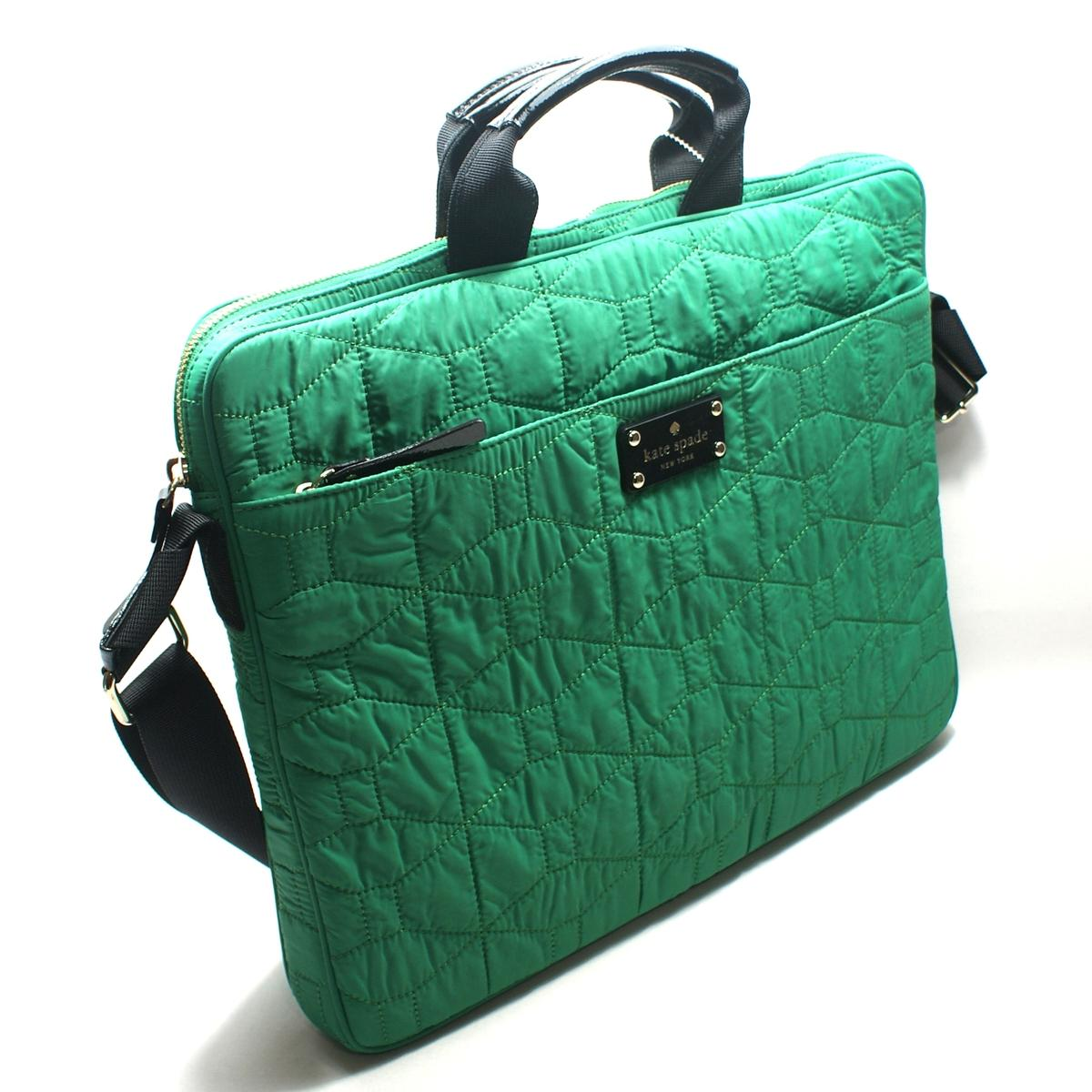 sale retailer 13330 19437 Kate Spade Chad 15 Signature Spade Quilted Emerald Messenger Bag ...