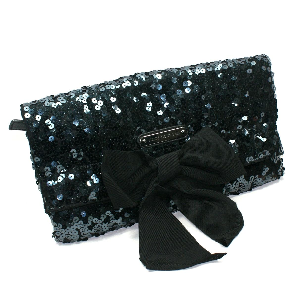 Juicy Couture Black Sequin Large Clutch Bag Yhruo011