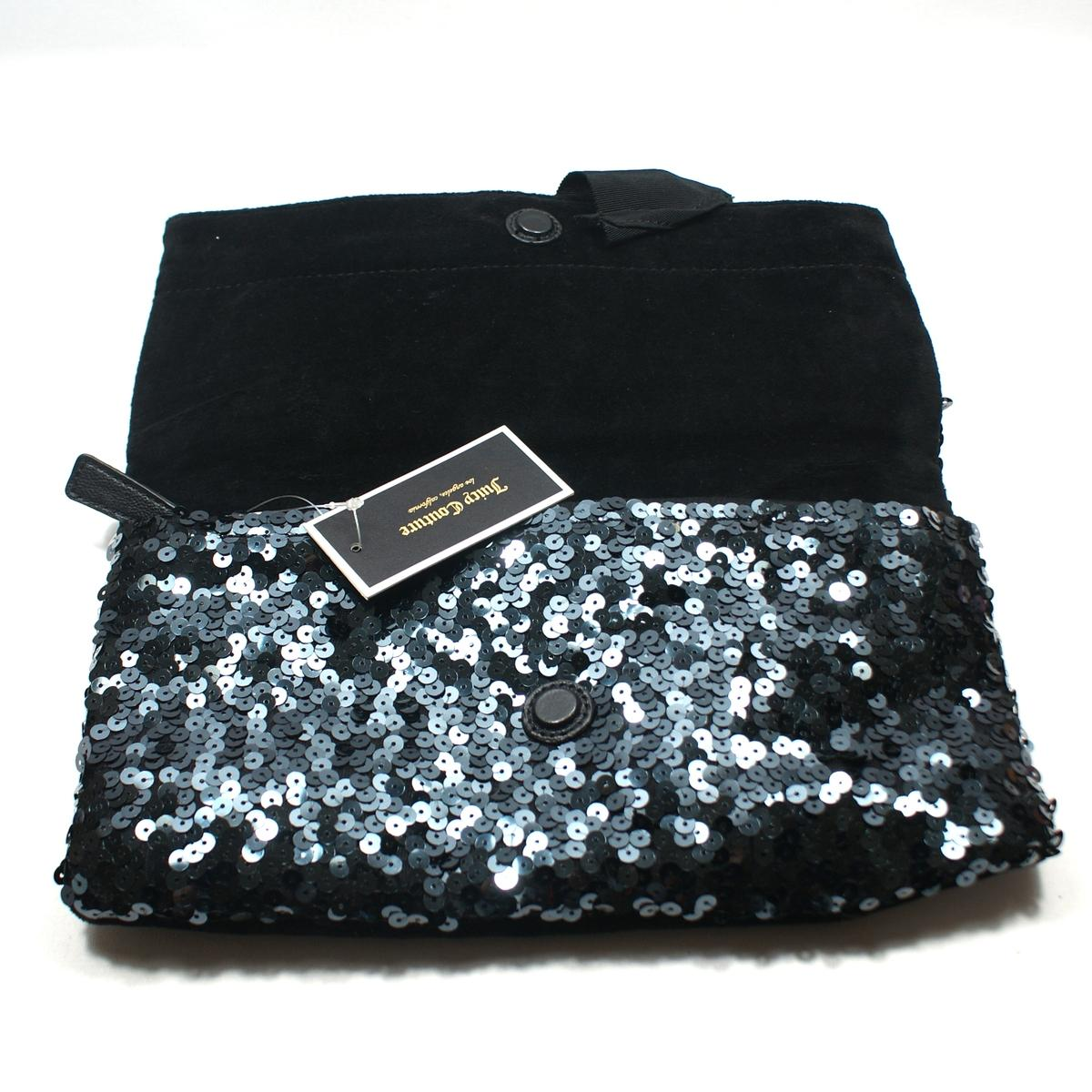 Juicy Couture Black Sequin Large Clutch Bag #YHRUO011