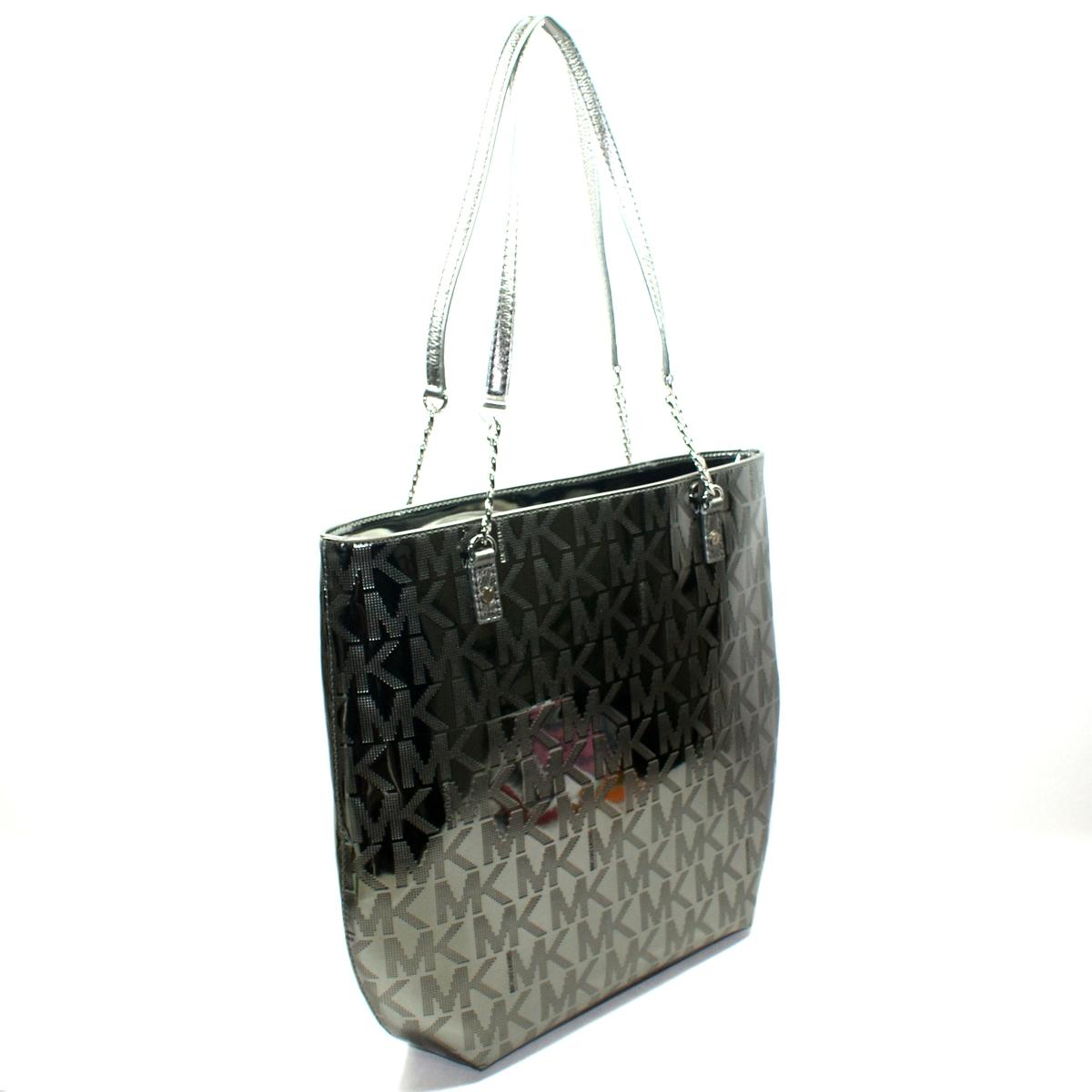 5c45dd75be440a ... MK Signature Mirror Metallic Nickel Tote. CLICK THUMBNAIL TO ZOOM.  Found ...