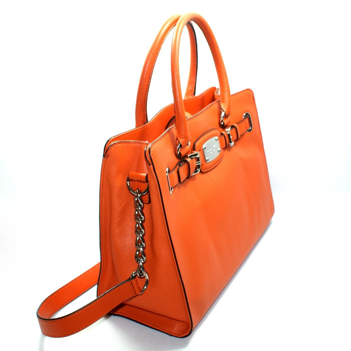 10308b20d2d1 Home · Michael Kors · Hamilton East West Genuine Leather Tote Tangerine.  CLICK THUMBNAIL TO ZOOM. Found ...