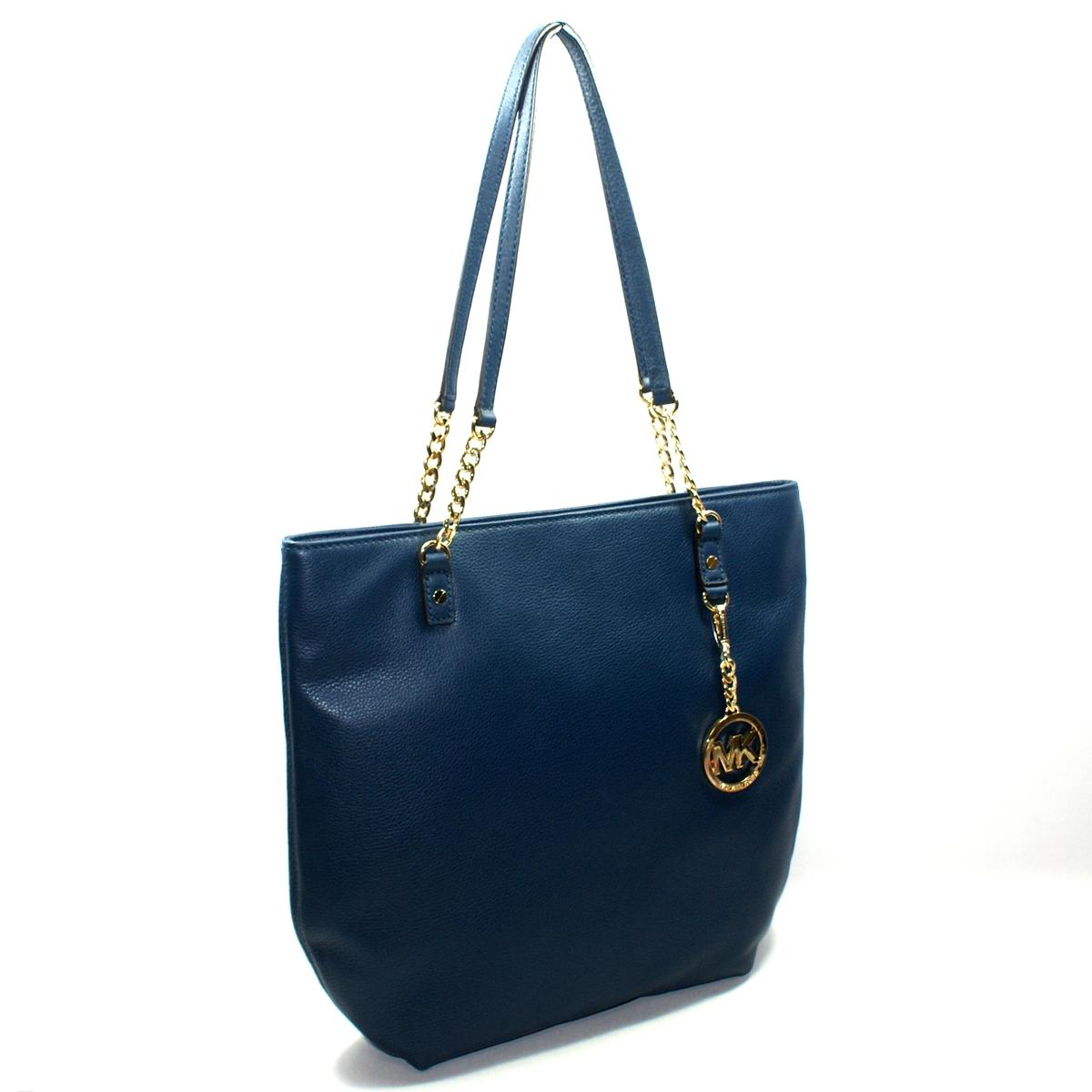 Home Michael Kors Jet Set Chain Soft Genuine Leather Tote Navy Blue