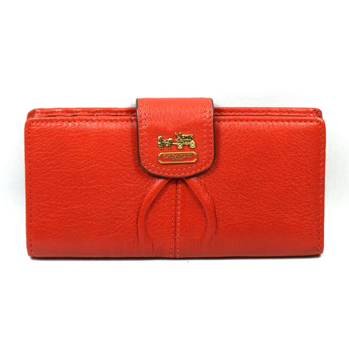 Coach Madison Leather Skinny Wallet Persimmon 46612