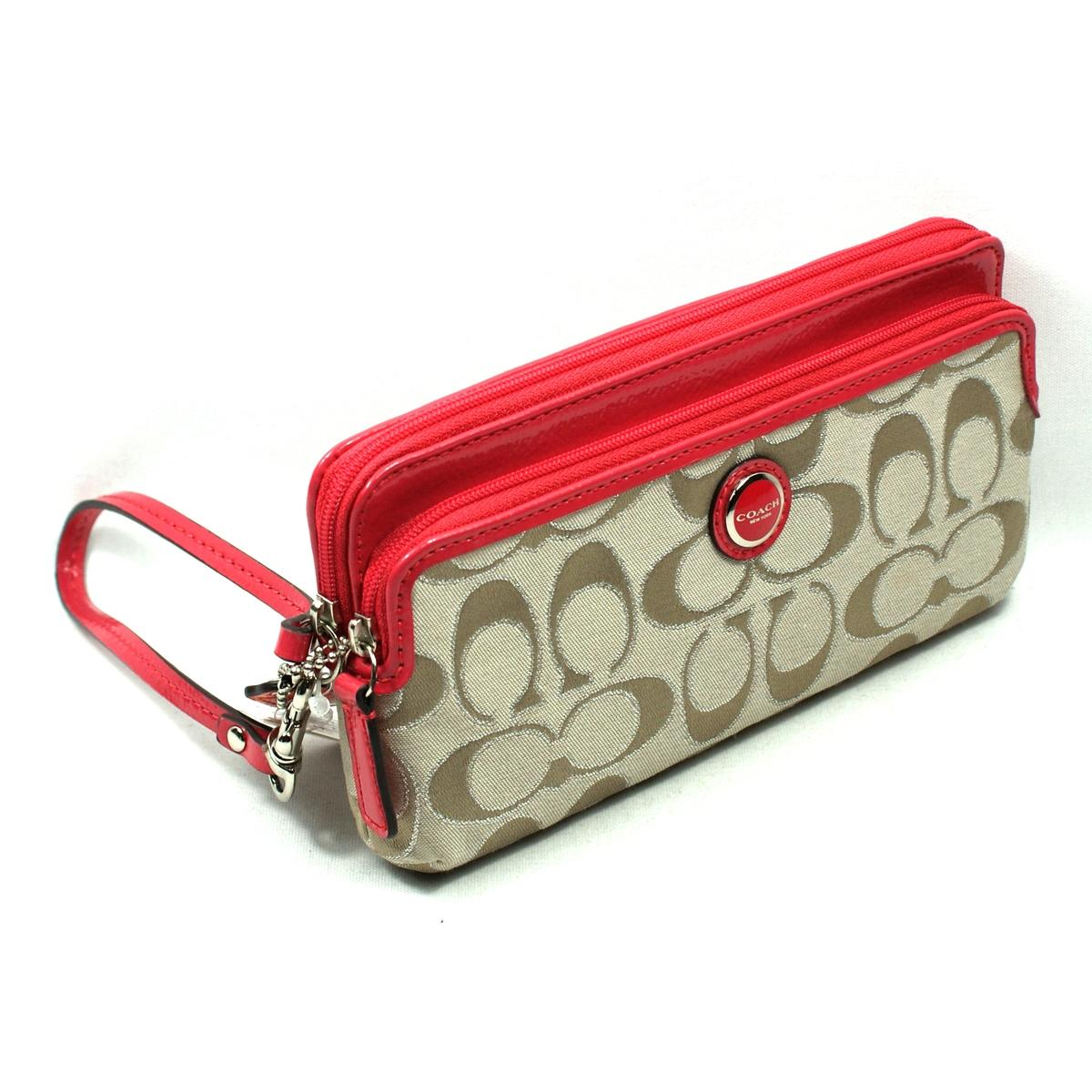 Coach Poppy Signature Multi Camp Wallet Wristlet Clutch 47897 Coach 47897