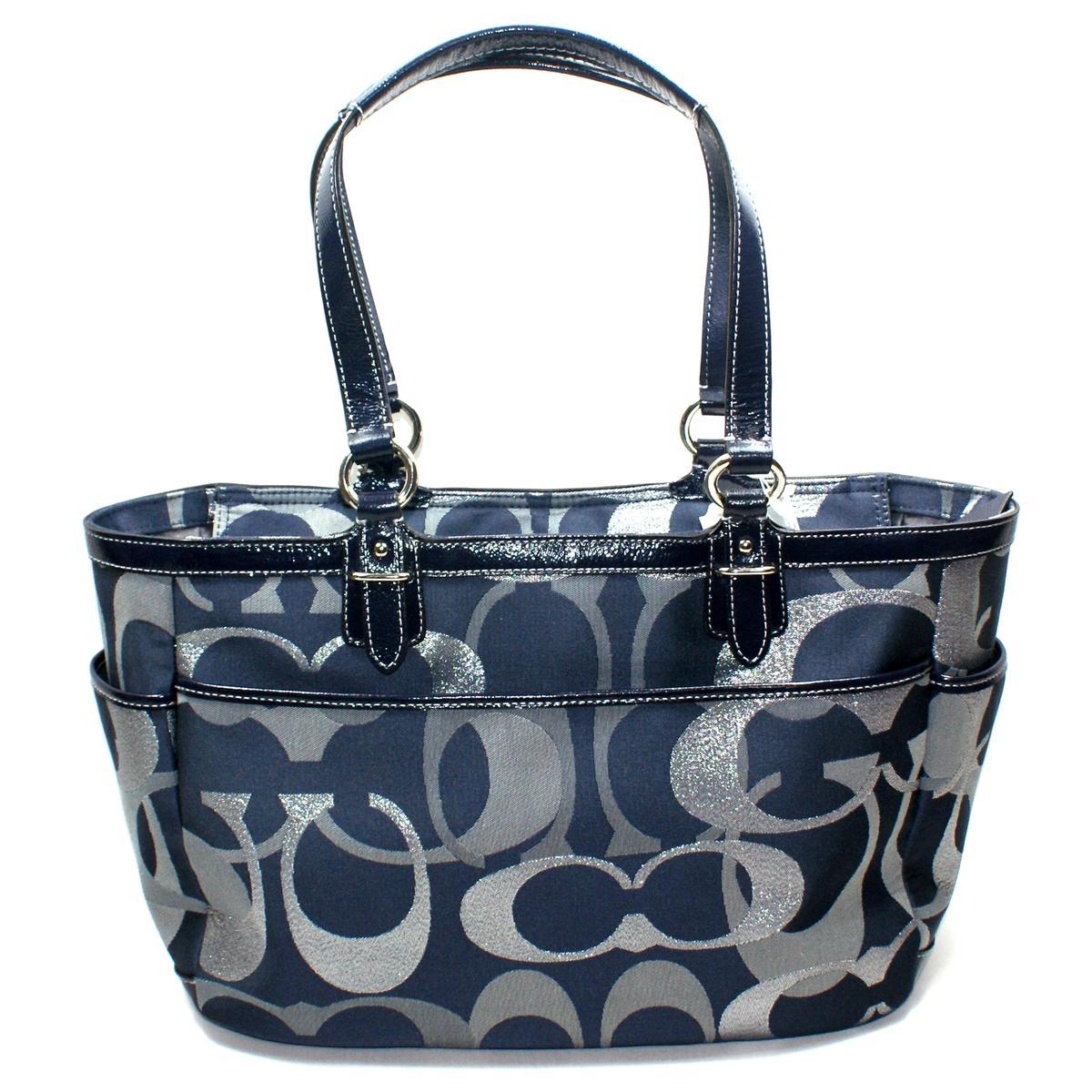 coach gallery optic medium signature tote bag blue 19664