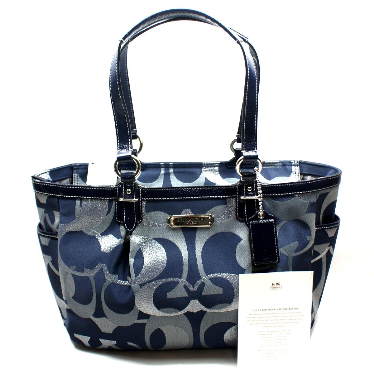 Coach Gallery Optic Medium Signature Tote Bag Blue 19664