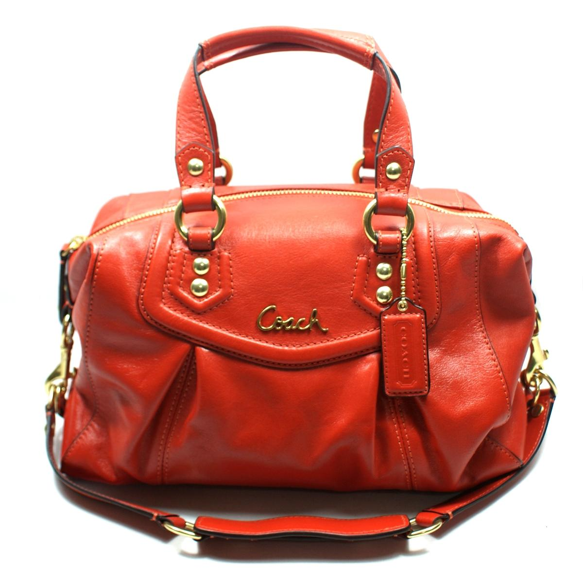 Coach Ashley Leather Satchel Shoulder Bag Vermillion