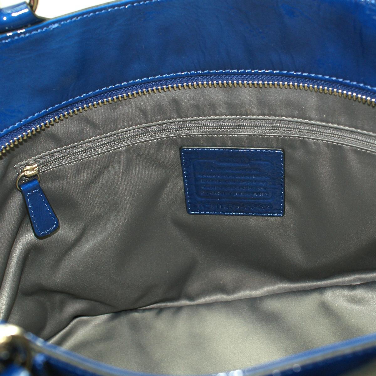coach gray patent leather handbag iqiq  Coach Madison Patent Leather Tote Ultramarine 20484