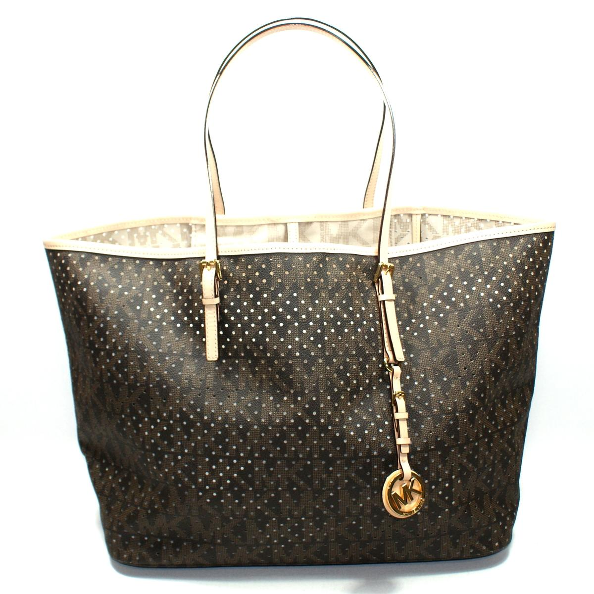 1a73bb7bbb1d59 Home · Michael Kors · Jet Set MK Signature Perforated Medium Travel Tote  Brown. CLICK THUMBNAIL TO ZOOM. Found ...