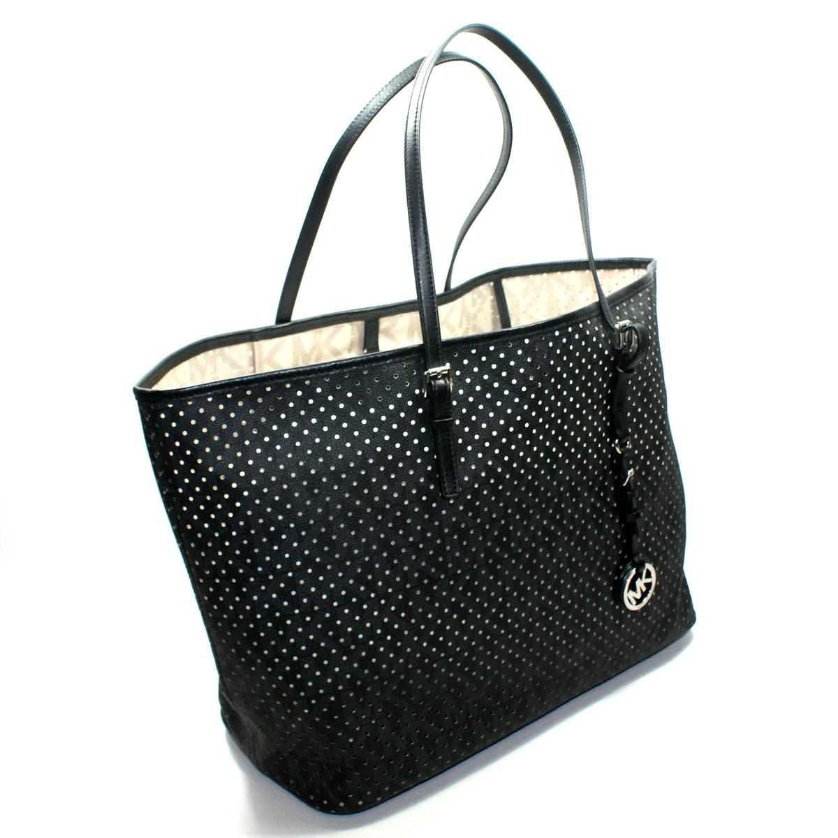 Michael Kors Jet Set MK Signature Perforated Medium Travel Tote Black ...