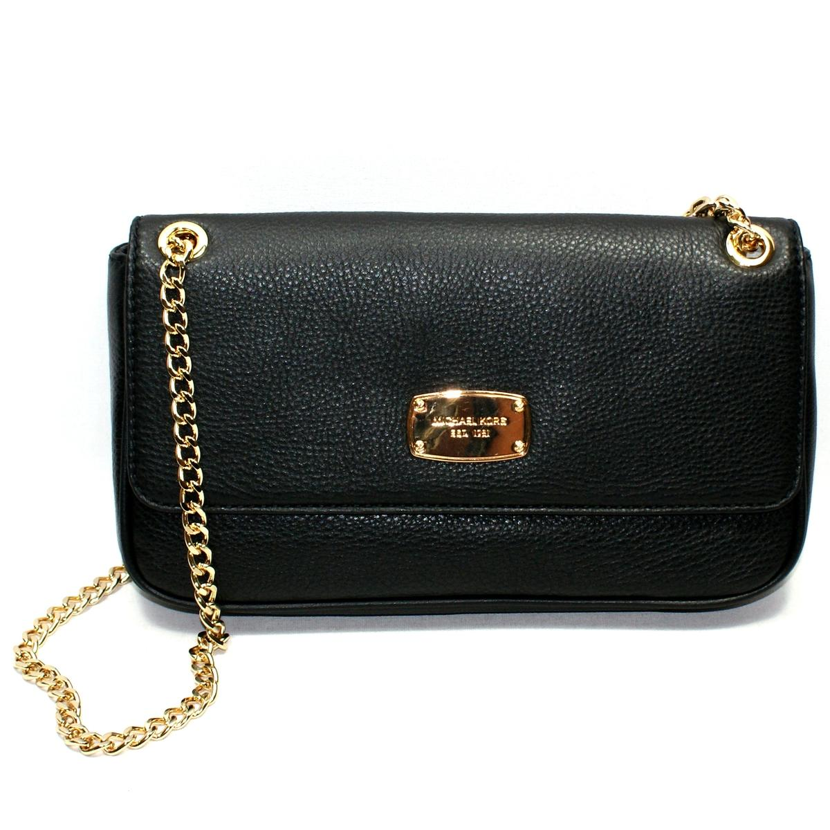 d8728d17f379 Home · Michael Kors · Jet Set Chain Genuine Leather Small Flap Shoulder Bag  Black. CLICK THUMBNAIL TO ZOOM. Found ...