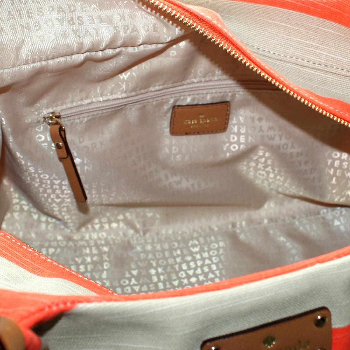 Kate Spade Stevie Jubilee Stripe Shoulder Bag Coral