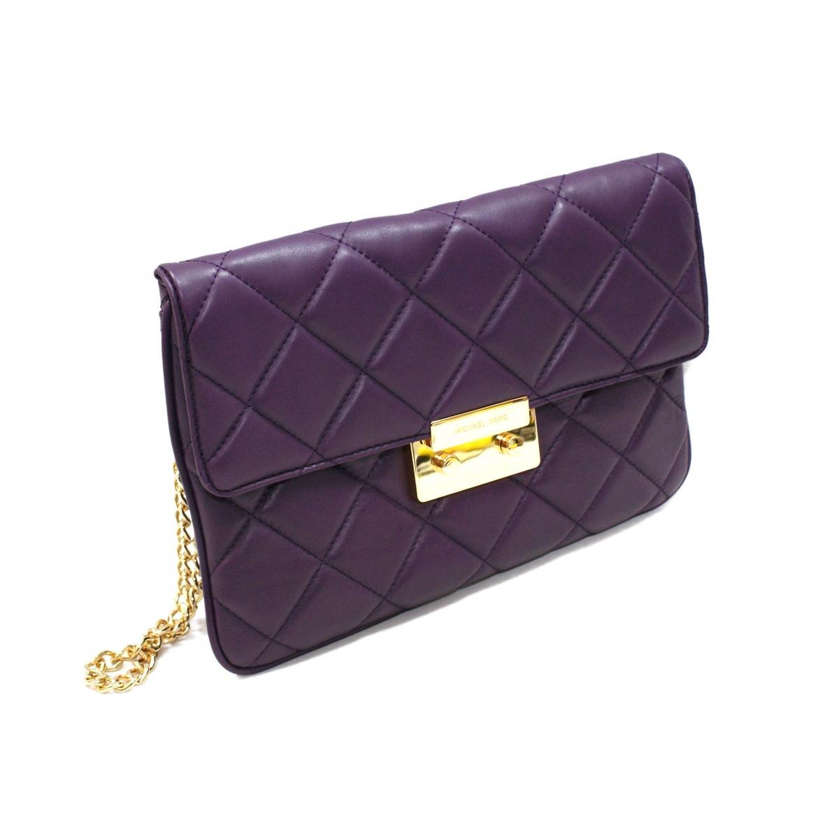 Michael Kors Sloan Quilted Genuine Leather Purple Clutch/ Shoulder Bag ...