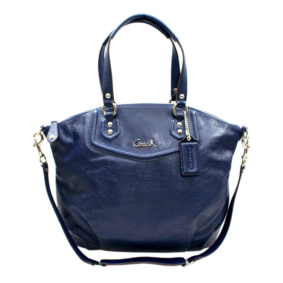 Coach Ashley Leather Satchel Shoulder Bag Midnight Navy
