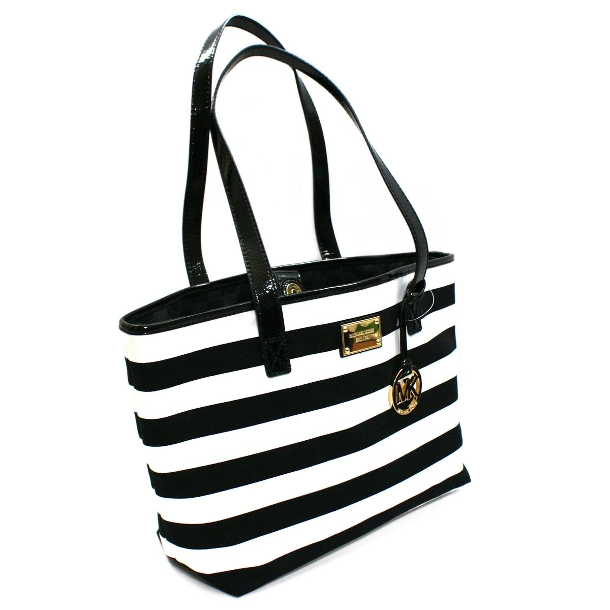 Michael Kors Summer Stripe East West Canvas Tote Black