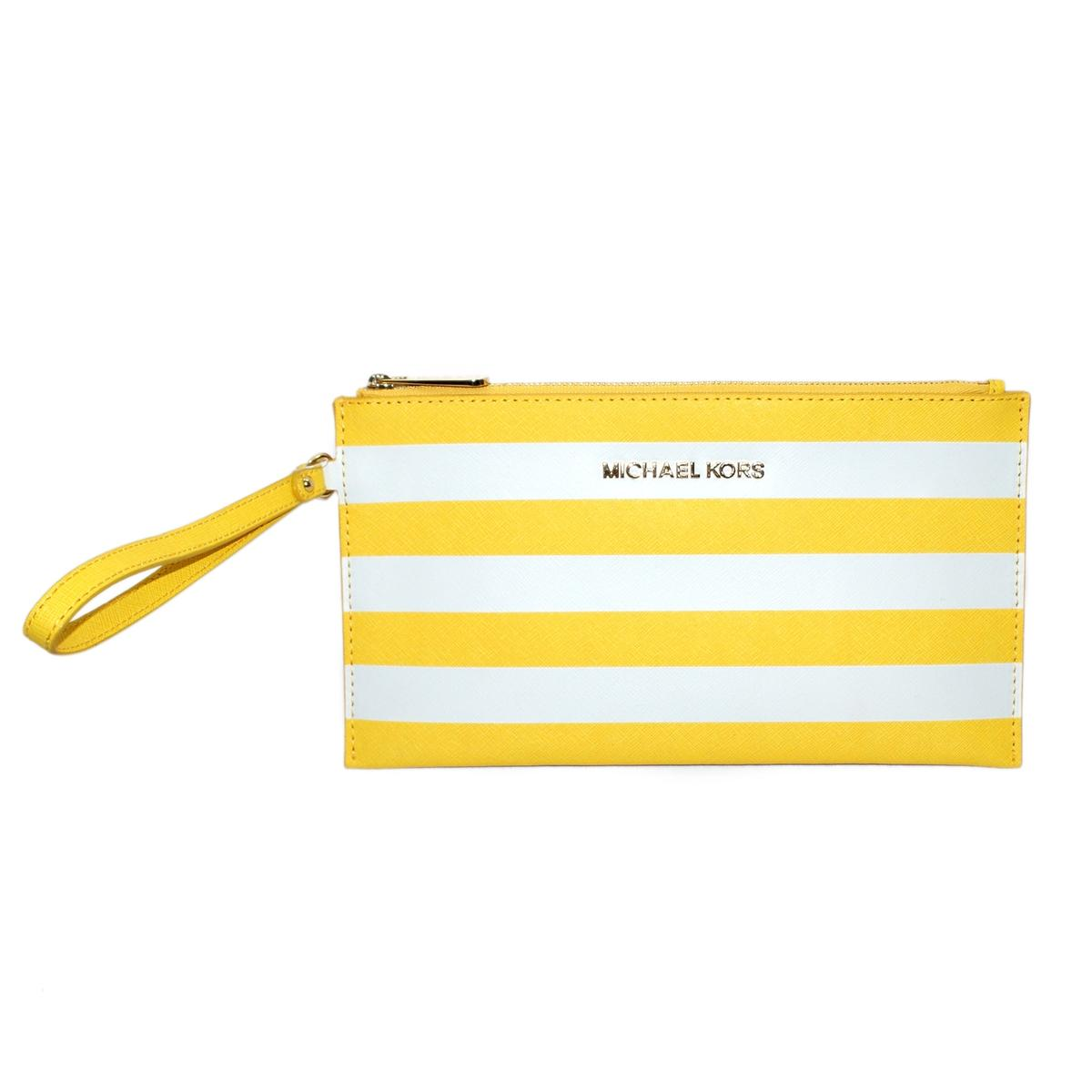 ac89104d81 Home · Michael Kors · Jet Set Travel Stripe Genuine Leather Flat Large Zip  Clutch  Wristlet Citrus. CLICK THUMBNAIL TO ZOOM. Found ...