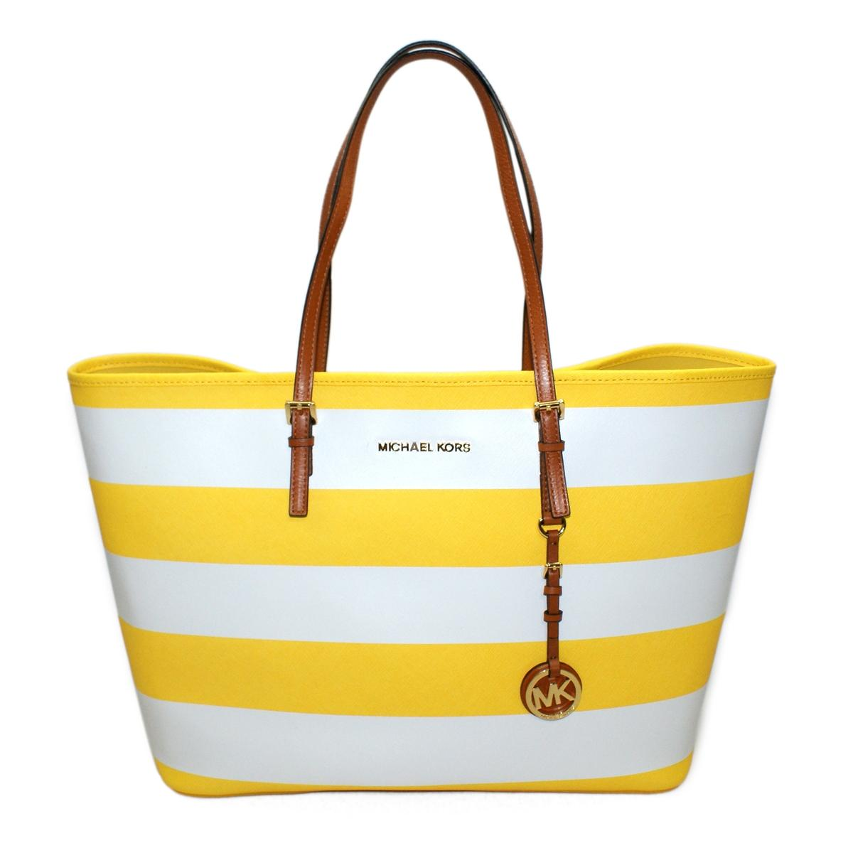 e06b39c09595 Home · Michael Kors · Jet Set Medium Travel Stripe Genuine Leather Tote  Citrus. CLICK THUMBNAIL TO ZOOM. Found ...