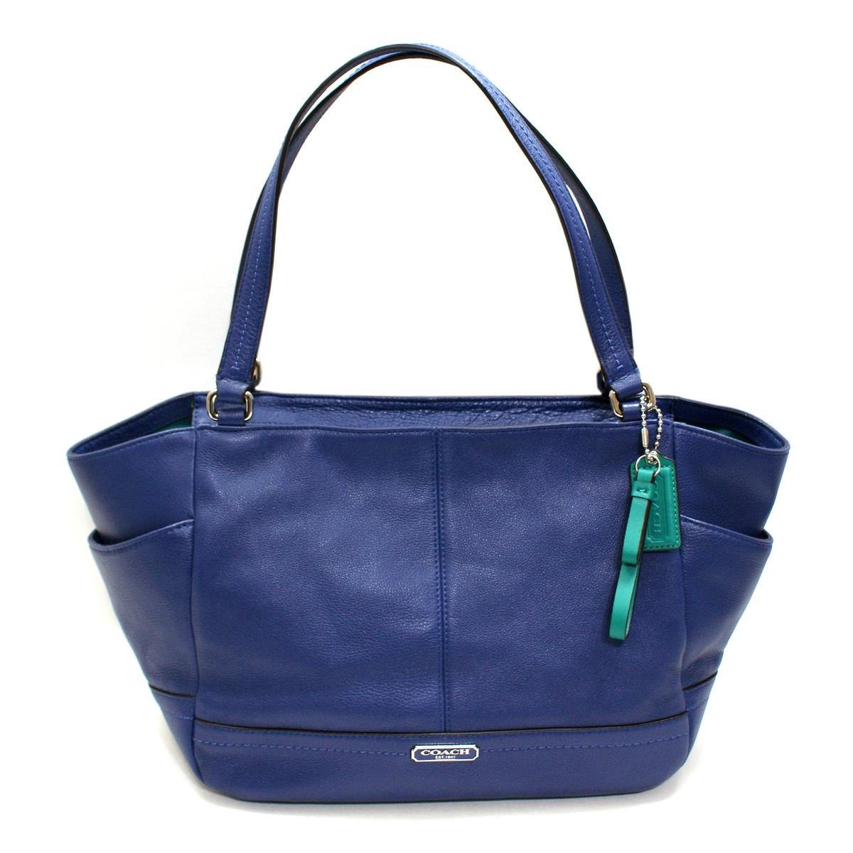 Home Coach Parker Leather Carrie Tote Shoulder Bag French Blue